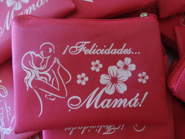 48834f855 Te ofrecemos Monederos con impresion en serigrafia con motivo de 10 de  Mayo, Dia de las Madres u otro evento. Medida de la bolsa de 10 cm ancho x  8 cm alto ...